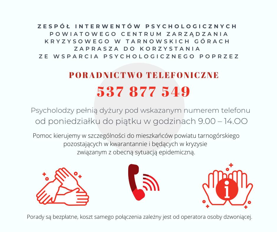 informacja pisemna i zespole interwentów psychologicznych powiatowego centrum zarządzania kryzysowego w tarnowskich górach, informacja o uruchomionym telefonie