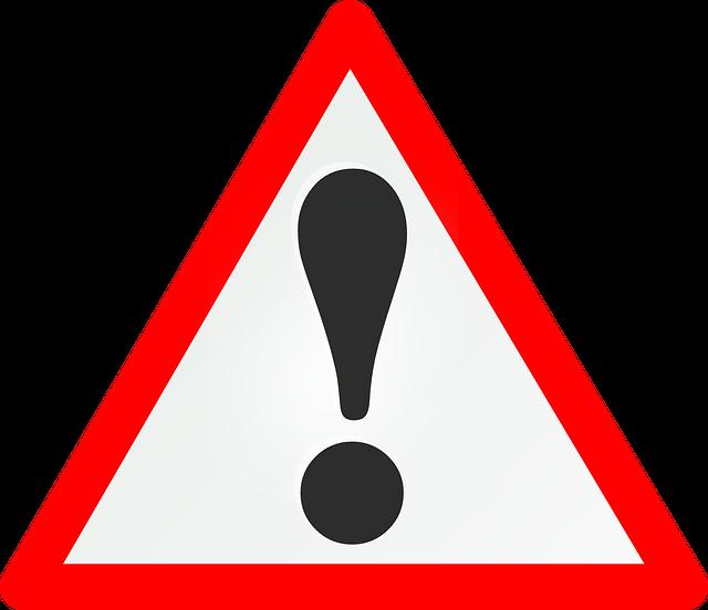 wykrzyknik - znak ostrzegawczy